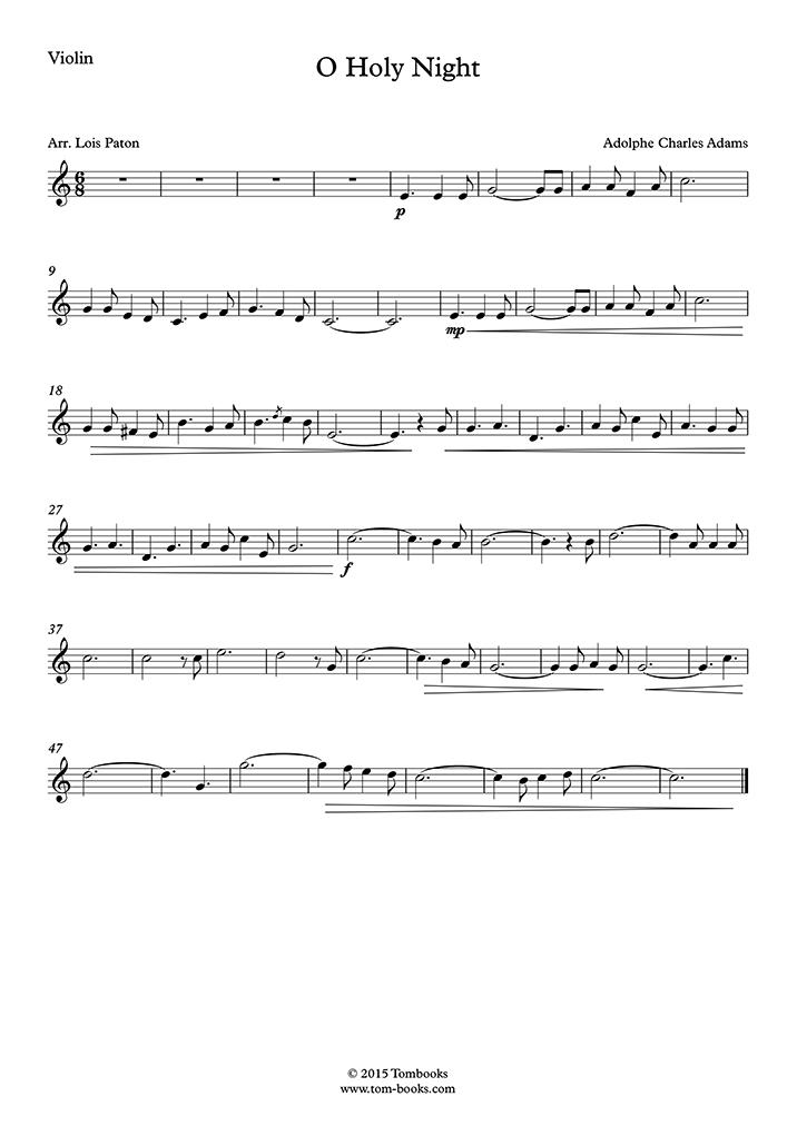 Violin Sheet Music O Holy Night (Christmas music)