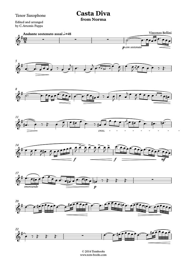 Saxophone Sheet Music Norma Casta Diva Tenor Saxophone Bellini