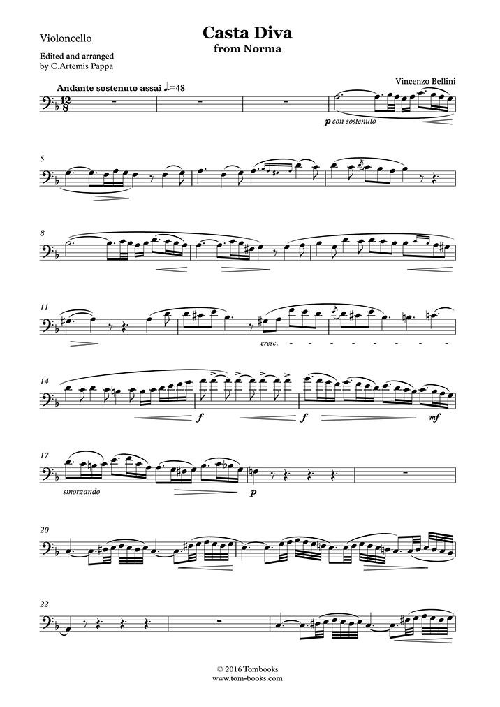 Play bellini norma casta diva violoncelle tomplay - Norma casta diva bellini ...