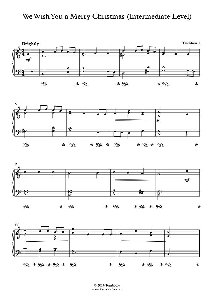 We Wish You A Merry Christmas Piano.Christmas Music We Wish You A Merry Christmas Intermediate Level