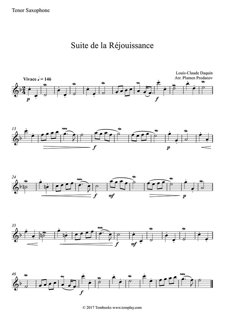 Daquin - Suite de la Rejouissance (Tenor Saxophone)