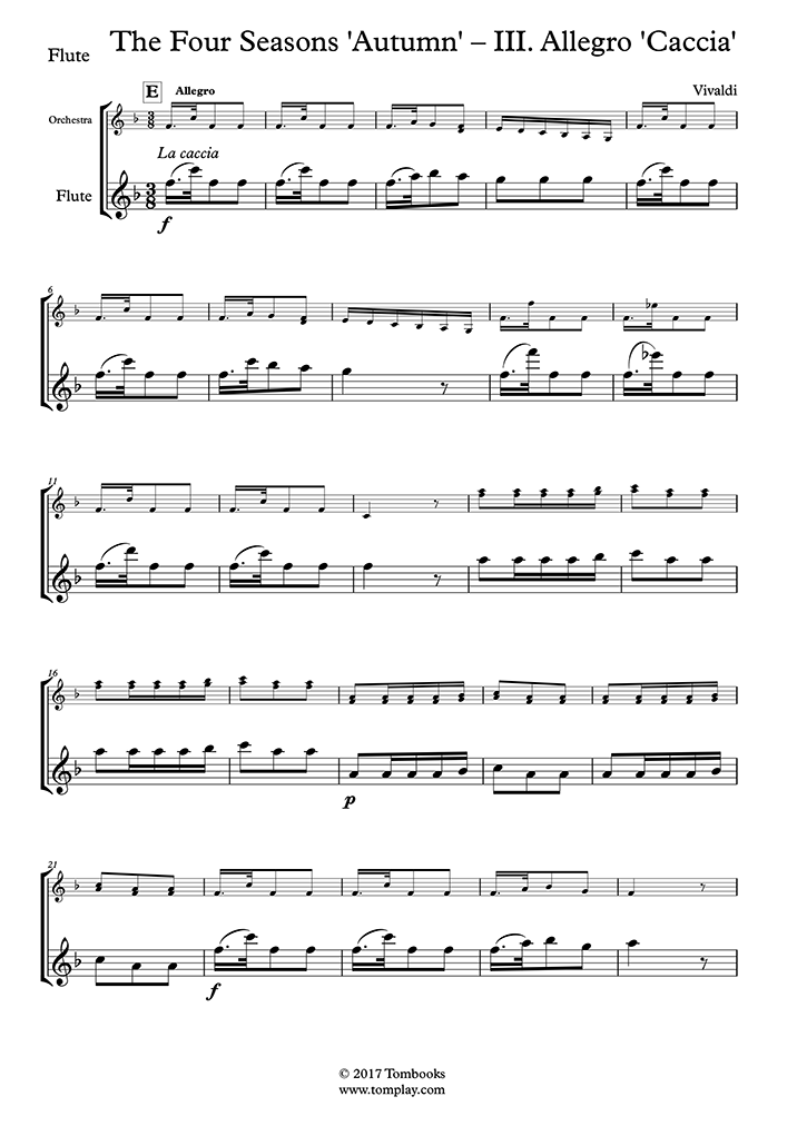 Vivaldi violin concerto in a minor sheet music