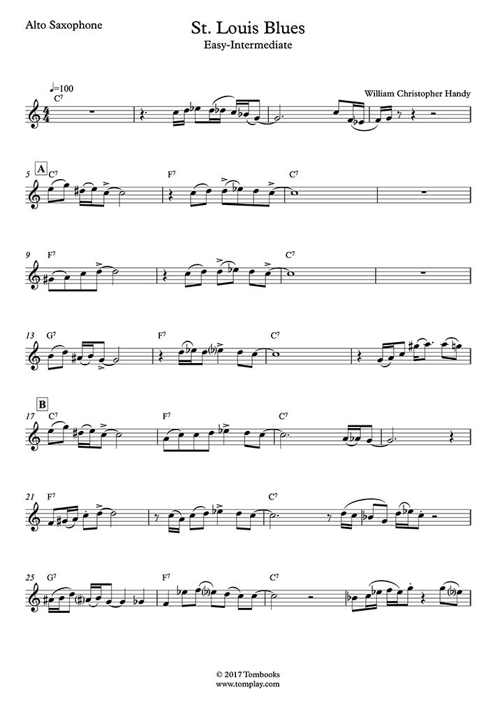 Handy - St Louis Blues (Easy/Intermediate Level, alto sax) - Saxophone
