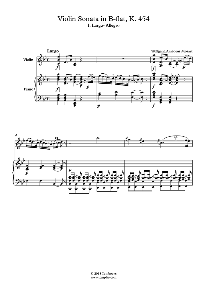 Mozart - Violin Sonata No  32 in B-flat major, K 454 - I  Largo