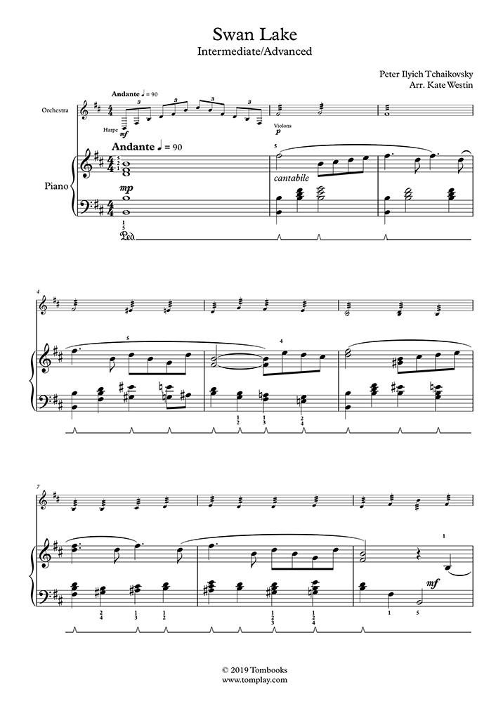 Piano Sheet Music Swan Lake (Intermediate/Advanced Level, with