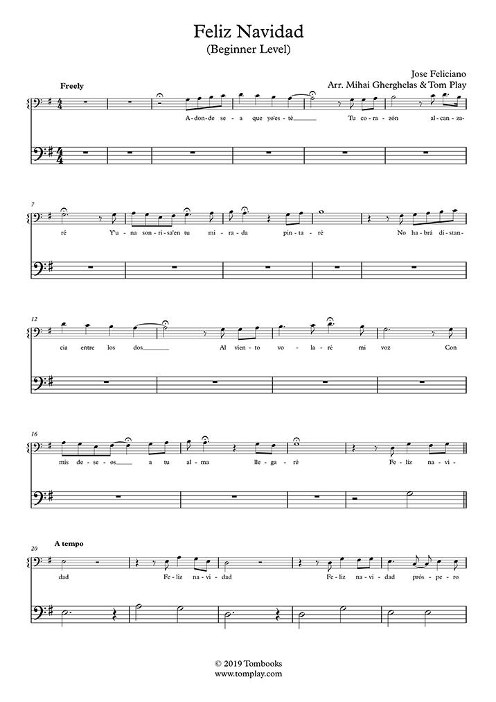 Cello-Musiknoten Feliz Navidad (Anfänger) (José Feliciano)