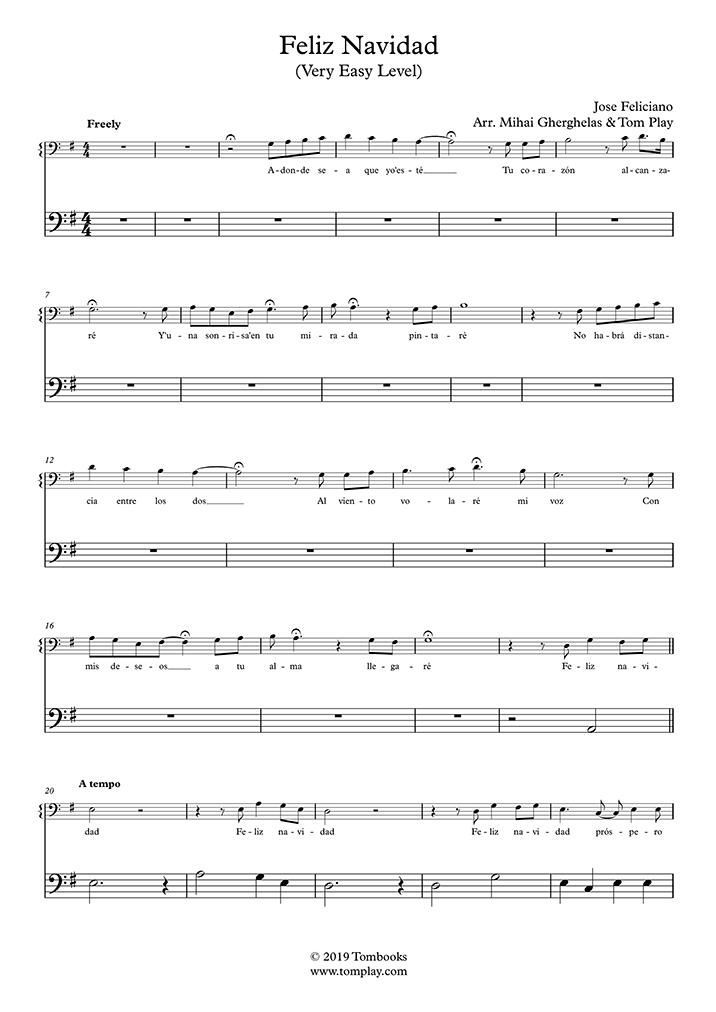 Cello-Musiknoten Feliz Navidad (Sehr leichte Stufe) (José ...