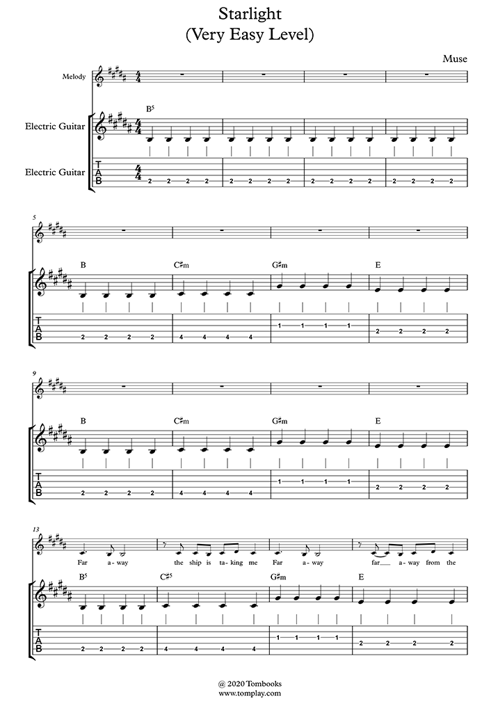 Guitar Tabs And Sheet Music Starlight Very Easy Level Muse